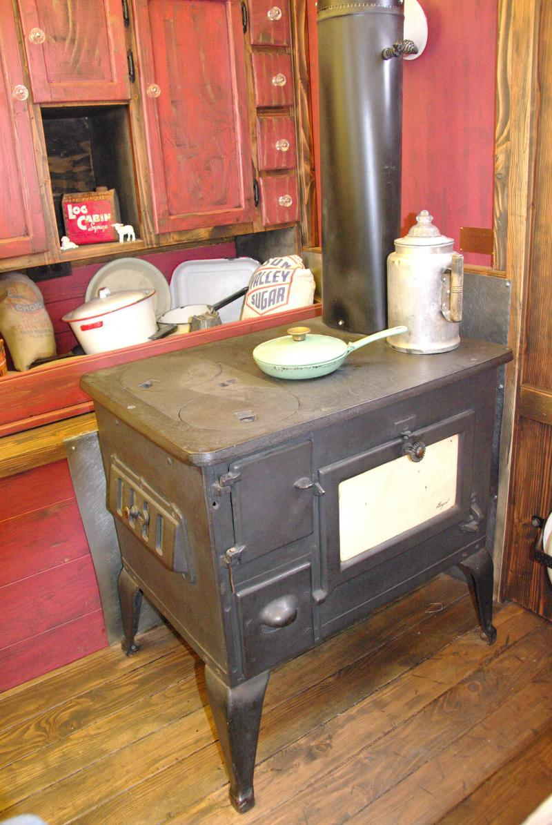 original sheepherders stove inside this sheep wagon