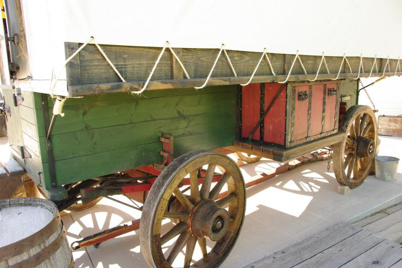 neat old style trunk on side sheep wagon
