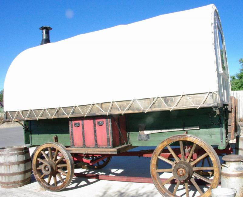 The side view shows the style and charm -brought to life in this sheep wagon