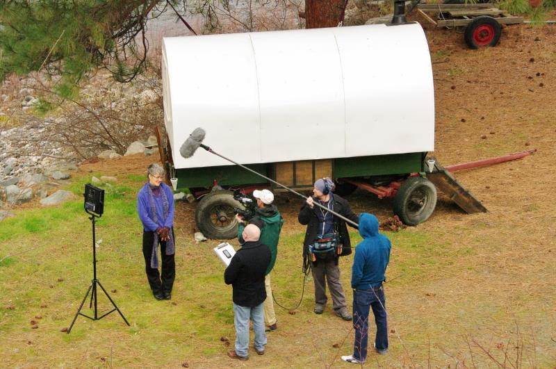 Renee is one of the ladys who live in this frist sheep wagon,  being interviewed