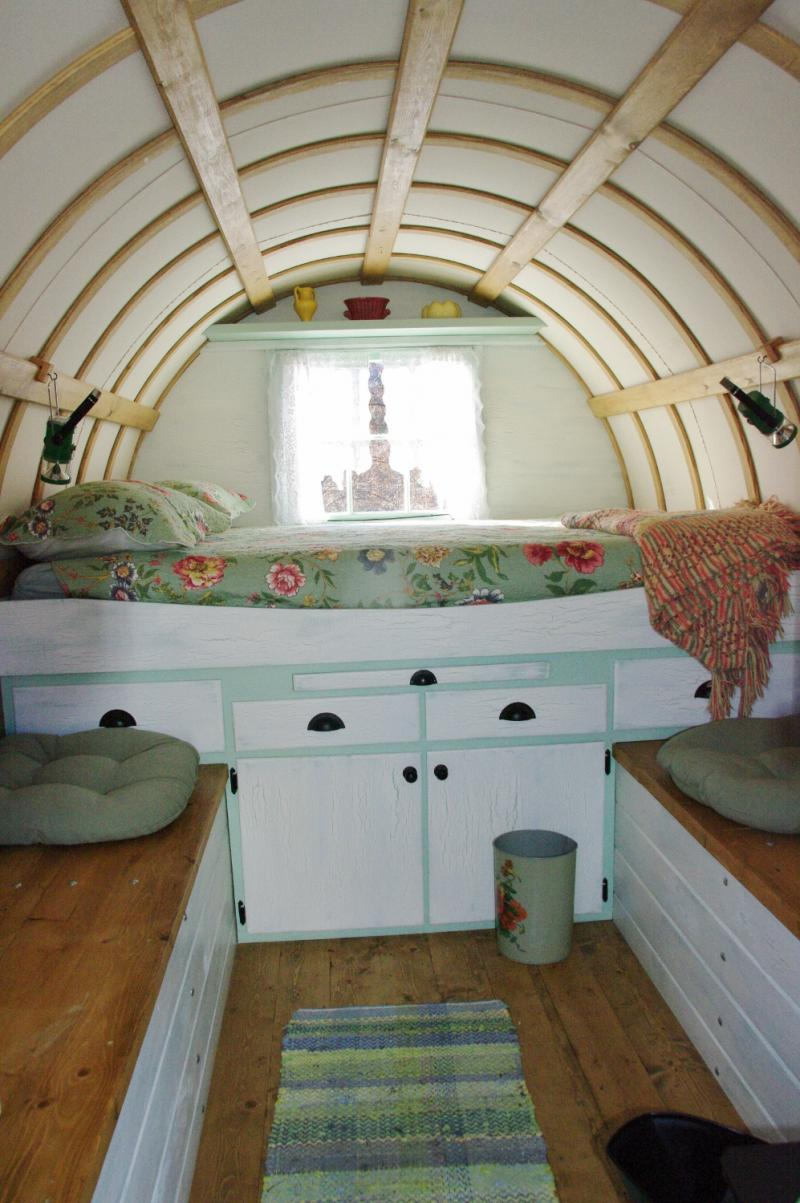 This is the inside of the Sheep Wagon Darcey Rents out at the Forest