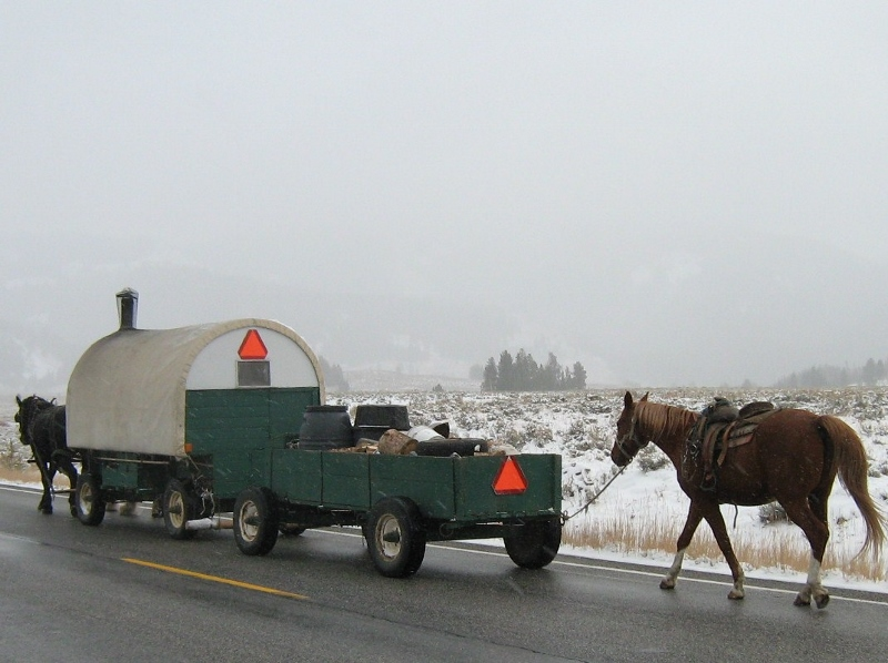 an original family sheep wagon trailing back to Hagerman Id from Smiley Creek Id