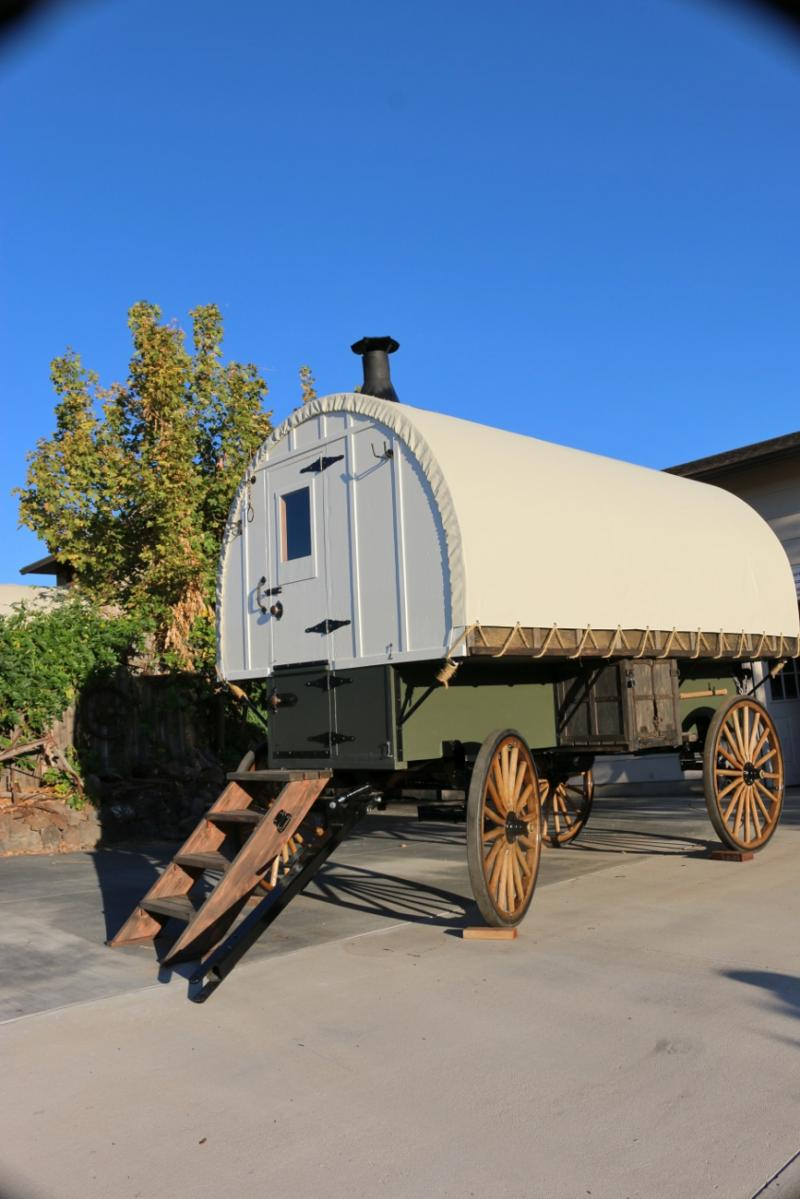 this sheep wagon built on new amish wood spoke running gear