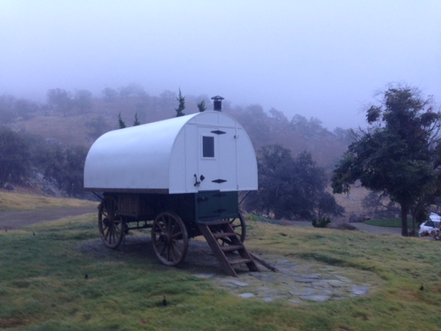 one of our antique wood spoke Sheep Wagons that was custom built for client